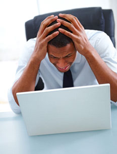 Frustrated Guy needing Bookkeeping Services from Benchmark Bookkeeping